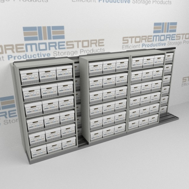 Alternative Views  sc 1 st  StoreMoreStore & Sideways Sliding File Box Racks on Tracks | Record Boxes Stored on ...