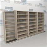 "Double Deep (Four Post) Sliding Mobile File Shelving, 4/3 Legal-Size (14' 4"" W x 2' 8-1/2"" D x 6' 9-3/4"" H with 7 levels), #SMS-25-B243LG4P7"