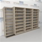 "Double Deep (Four Post) Sliding Mobile File Shelving, 4/3 Letter-Size (14' 4"" W x 2' 2-1/2"" D x 7' 9-3/4"" H with 8 levels), #SMS-25-B243LT4P8"