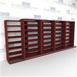 "Double Deep (Four Post) Sliding Mobile File Shelving, 5/4 Legal-Size (17' 10"" W x 2' 8-1/2"" D x 6' 9-3/4"" H with 7 levels), #SMS-25-B254LG4P7"