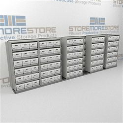 Double Deep Movable Record File Box Storage Shelving Rolling Sideways on Tracks | SMSB265BX-4P6