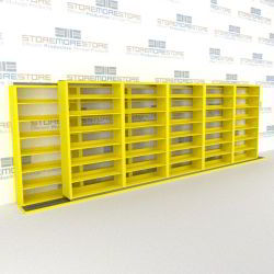 "Double Deep (Four Post) Sliding Mobile File Shelving, 6/5 Letter-Size (21' 8"" W x 2' 2-1/2"" D x 6' 9-3/4"" H with 7 levels), #SMS-25-B265LT4P7"