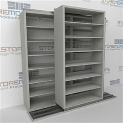 "Double Deep (Four Post) Sliding Mobile File Shelving, 2/1 Letter-Size (6' 4"" W x 2' 2-1/2"" D x 6' 9-3/4"" H with 7 levels), #SMS-25-B621LT4P7"