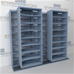 "Double Deep (Four Post) Sliding Mobile File Shelving, 3/2 Legal-Size (9' 4"" W x 2' 8-1/2"" D x 7' 9-3/4"" H with 8 levels), #SMS-25-B632LG4P8"