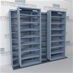 "Double Deep (Four Post) Sliding Mobile File Shelving, 3/2 Letter-Size (9' 4"" W x 2' 2-1/2"" D x 7' 9-3/4"" H with 8 levels), #SMS-25-B632LT4P8"
