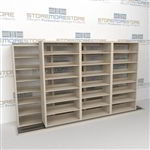 "Double Deep (Four Post) Sliding Mobile File Shelving, 4/3 Legal-Size (12' 4"" W x 2' 8-1/2"" D x 6' 9-3/4"" H with 7 levels), #SMS-25-B643LG4P7"