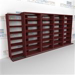 "Double Deep (Four Post) Sliding Mobile File Shelving, 5/4 Letter-Size (15' 4"" W x 2' 2-1/2"" D x 6' 9-3/4"" H with 7 levels), #SMS-25-B654LT4P7"