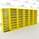 "Double Deep (Four Post) Sliding Mobile File Shelving, 6/5 Legal-Size (18' 8"" W x 2' 8-1/2"" D x 7' 9-3/4"" H with 8 levels), #SMS-25-B665LG4P8"