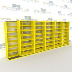 "Double Deep (Four Post) Sliding Mobile File Shelving, 6/5 Letter-Size (18' 8"" W x 2' 2-1/2"" D x 6' 9-3/4"" H with 7 levels), #SMS-25-B665LT4P7"