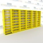 "Double Deep (Four Post) Sliding Mobile File Shelving, 6/5 Letter-Size (18' 8"" W x 2' 2-1/2"" D x 7' 9-3/4"" H with 8 levels), #SMS-25-B665LT4P8"