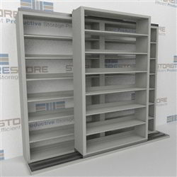 "Double Deep (Four Post) Sliding Mobile File Shelving, 2/1 Letter-Size (8' 4"" W x 2' 2-1/2"" D x 6' 9-3/4"" H with 7 levels), #SMS-25-B821LT4P7"