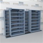 "Double Deep (Four Post) Sliding Mobile File Shelving, 3/2 Legal-Size (12' 4"" W x 2' 8-1/2"" D x 6' 9-3/4"" H with 7 levels), #SMS-25-B832LG4P7"