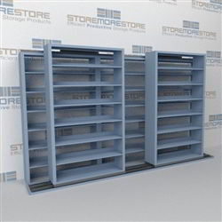 "Double Deep (Four Post) Sliding Mobile File Shelving, 3/2 Letter-Size (12' 4"" W x 2' 2-1/2"" D x 6' 9-3/4"" H with 7 levels), #SMS-25-B832LT4P7"