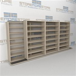"Double Deep (Four Post) Sliding Mobile File Shelving, 4/3 Letter-Size (16' 4"" W x 2' 2-1/2"" D x 6' 9-3/4"" H with 7 levels), #SMS-25-B843LT4P7"