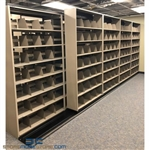 "Double Deep (Four Post) Sliding Mobile File Shelving, 5/4 Letter-Size (20' 9"" W x 2' 2-1/2"" D x 7' 9-3/4"" H with 8 levels), #SMS-25-B854LT4P8"