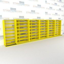 "Double Deep (Four Post) Sliding Mobile File Shelving, 6/5 Letter-Size (24' 8"" W x 2' 2-1/2"" D x 6' 9-3/4"" H with 7 levels), #SMS-25-B865LT4P7"