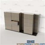 Double Deep Lateral File Cabinets on Tracks Save Space Rolling Filing Storage