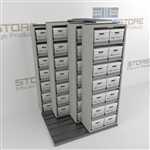 Moving File Box Shelves Rolling Side to Side On Tracks Storing Record Boxes | SMSQ021BX-4P7