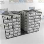 Moving Letter Size File Box Storage Racks | Archival Boxes on Moving Shelves | SMSQ054BX-4P7