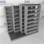 "4-Row Deep (Four Post) Sliding Mobile File Shelving, 2/1/1/1 Legal-Size,(7' 4"" W x 5' 6-1/2"" D x 6' 11-3/4"" H with 7 levels), #SMS-25-Q221LG-4P7"