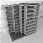 "4-Row Deep (Four Post) Sliding Mobile File Shelving, 2/1/1/1 Legal-Size,(7' 4"" W x 5' 6-1/2"" D x 7' 10-3/4"" H with 8 levels), #SMS-25-Q221LG-4P8"