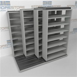 "4-Row Sliding (Four Post) Mobile File Shelving, 2/1/1/1 Letter-Size,(7' 4"" W x 4' 6-1/2"" D x 6' 11-3/4"" H with 7 levels), #SMS-25-Q221LT-4P7"
