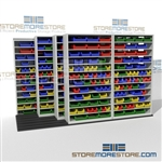 Storing Parts Bins on Steel Shelving