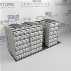 Mobile File Box Racks for Storing Archival Records on Moving Shelves Racks | SMSQ243BX-4P6