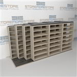 "4-Row Sliding (Four Post) Mobile File Shelving, 4/3/3/3 Letter-Size,(14' 4"" W x 4' 6-1/2"" D x 6' 11-3/4"" H with 7 levels), #SMS-25-Q243LT-4P7"