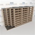 "4-Row Sliding (Four Post) Mobile File Shelving, 4/3/3/3 Letter-Size,(14' 4"" W x 4' 6-1/2"" D x 7' 10-3/4"" H with 8 levels), #SMS-25-Q243LT-4P8"