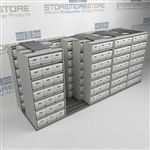Sliding Letter/Legal File Box Storage Racking | Rolling Archival Document Racks | SMSQ254BX-4P7