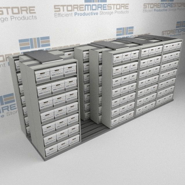 Alternative Views & Sliding Letter/Legal File Box Storage Racking | Rolling Archival ...