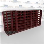 "4-Row Deep (Four Post) Sliding Mobile File Shelving, 5/4/4/4 Legal-Size,(17' 10"" W x 5' 6-1/2"" D x 6' 11-3/4"" H with 7 levels), #SMS-25-Q254LG-4P7"