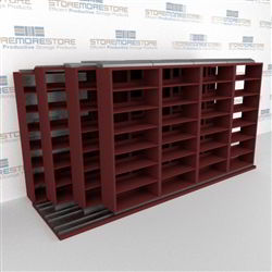 "4-Row Sliding (Four Post) Mobile File Shelving, 5/4/4/4 Letter-Size,(17' 10"" W x 4' 6-1/2"" D x 6' 11-3/4"" H with 7 levels), #SMS-25-Q254LT-4P7"