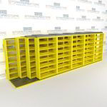 "4-Row Sliding (Four Post) Mobile File Shelving, 6/5/5/5 Letter-Size,(21' 8"" W x 4' 6-1/2"" D x 6' 11-3/4"" H with 7 levels), #SMS-25-Q265LT-4P7"