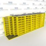 "4-Row Sliding (Four Post) Mobile File Shelving, 6/5/5/5 Letter-Size,(21' 8"" W x 4' 6-1/2"" D x 7' 10-3/4"" H with 8 levels), #SMS-25-Q265LT-4P8"