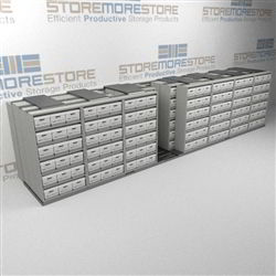 Sliding Boxed Records Storage Racks | Rolling Lateral Shelving for File Boxes | SMSQ287BX-4P6