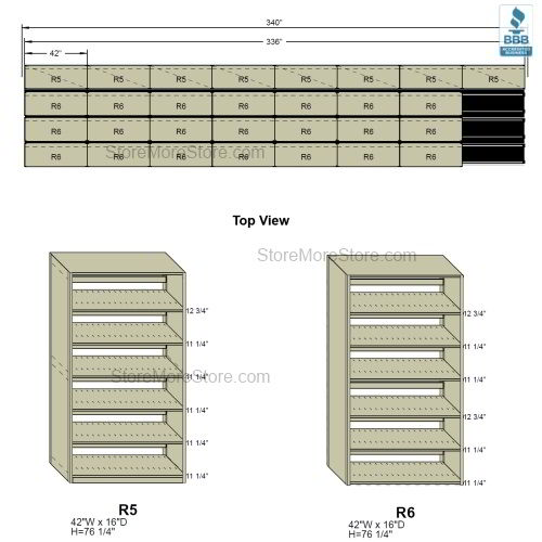 Sliding Box Storage (Four Post) Racks, 8/7/7/7 Box-Size (28' 4