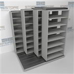 "4-Row (Four Post) Deep Sliding Mobile File Shelving, 2/1/1/1 Legal-Size,(6' 4"" W x 5' 6-1/2"" D x 6' 11-3/4"" H with 7 levels), #SMS-25-Q621LG-4P7"