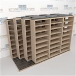 "4-Row Deep (Four Post) Sliding Mobile File Shelving, 4/3/3/3 Legal-Size,(12' 4"" W x 5' 6-1/2"" D x 7' 11-3/4"" H with 8 levels), #SMS-25-Q643LG-4P8"
