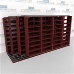 "4-Row Deep (Four Post) Sliding Mobile File Shelving, 5/4/4/4 Legal-Size,(15' 4"" W x 5' 6-1/2"" D x 7' 11-3/4"" H with 8 levels), #SMS-25-Q654LG-4P8"