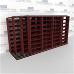 "4-Row Deep (Four Post) Sliding Mobile File Shelving, 5/4/4/4 Letter-Size,(15' 4"" W x 4' 6-1/2"" D x 7' 11-3/4"" H with 8 levels), #SMS-25-Q654LT-4P8"