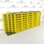 "4-Row Deep (Four Post) Sliding Mobile File Shelving, 6/5/5/5 Letter-Size,(18' 8"" W x 4' 6-1/2"" D x 7' 11-3/4"" H with 8 levels), #SMS-25-Q665LT-4P8"