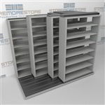 "4-Row (Four Post) Sliding Mobile File Shelving, 2/1/1/1 Letter-Size,(8' 4"" W x 4' 6-1/2"" D x 6' 11-3/4"" H with 7 levels), #SMS-25-Q821LT-4P7"