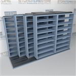 "4-Row (Four Post) Sliding Mobile File Shelving, 3/2/2/2 Letter-Size,(12' 4"" W x 4' 6-1/2"" D x 7' 10-3/4"" H with 8 levels), #SMS-25-Q832LT-4P8"