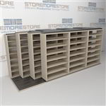 "4-Row Deep (Four Post) Sliding Mobile File Shelving, 4/3/3/3 Legal-Size,(16' 4"" W x 5' 6-1/2"" D x 6' 11-3/4"" H with 7 levels), #SMS-25-Q843LG-4P7"
