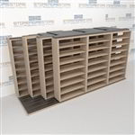 "4-Row Deep (Four Post) Sliding Mobile File Shelving, 4/3/3/3 Legal-Size (16' 4"" W x 5' 6-1/2"" D x 7' 10-3/4"" H with 8 levels), #SMS-25-Q843LG-4P8"