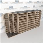 "4-Row (Four Post) Sliding Mobile File Shelving, 4/3/3/3 Letter-Size,(16' 4"" W x 4' 6-1/2"" D x 7' 10-3/4"" H with 8 levels), #SMS-25-Q843LT-4P8"
