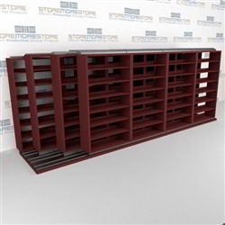 "4-Row Deep (Four Post) Sliding Mobile File Shelving, 5/4/4/4 Legal-Size,(20' 9"" W x 5' 6-1/2"" D x 6' 11-3/4"" H with 7 levels), #SMS-25-Q854LG-4P7"