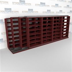 "4-Row (Four Post) Sliding Mobile File Shelving, 5/4/4/4 Letter-Size (20' 9"" W x 4' 6-1/2"" D x 6' 11-3/4"" H with 7 levels), #SMS-25-Q854LT-4P7"